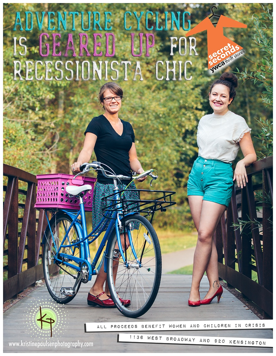 Adventure Cycling is geared up for Missoula YWCA Recessionista Chic - Photo and Ad Design by Kristine Paulsen Photography