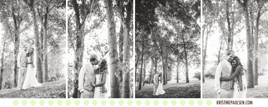 Kisses under the Cottonwoods :: Autumn and Kevin's Great Falls, Montana Wedding - Photos by Kristine Paulsen Photography, Missoula Wedding Photographer