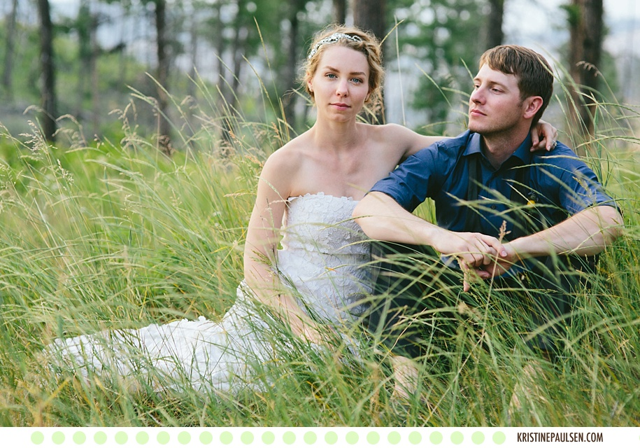 Running through the Woods :: Kristeen and Colt's Missoula, Montana Rock the Dress Session :: Photos by Kristine Paulsen Photography