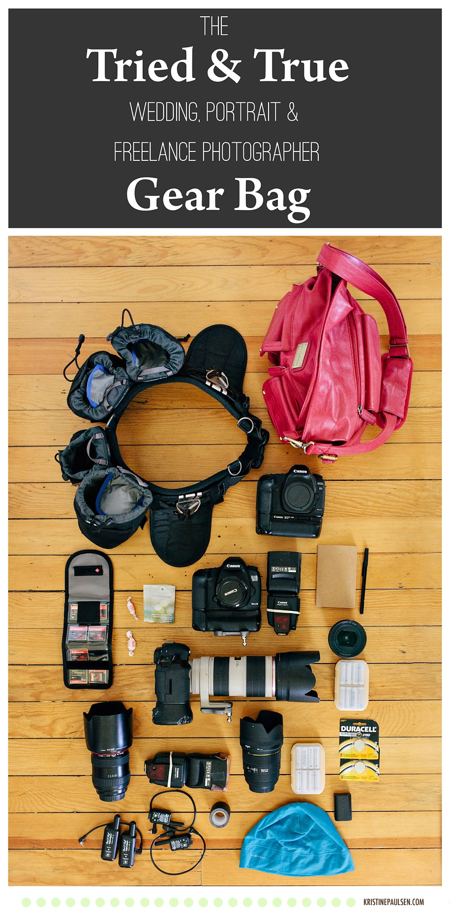 Wedding and Freelance Photographer Photography Gear Bag - Kristine Paulsen Photography
