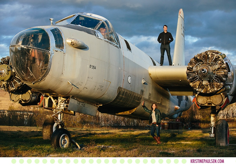 Shannon + Jud :: Missoula Engagement Photos in a Funky Airplane Boneyard