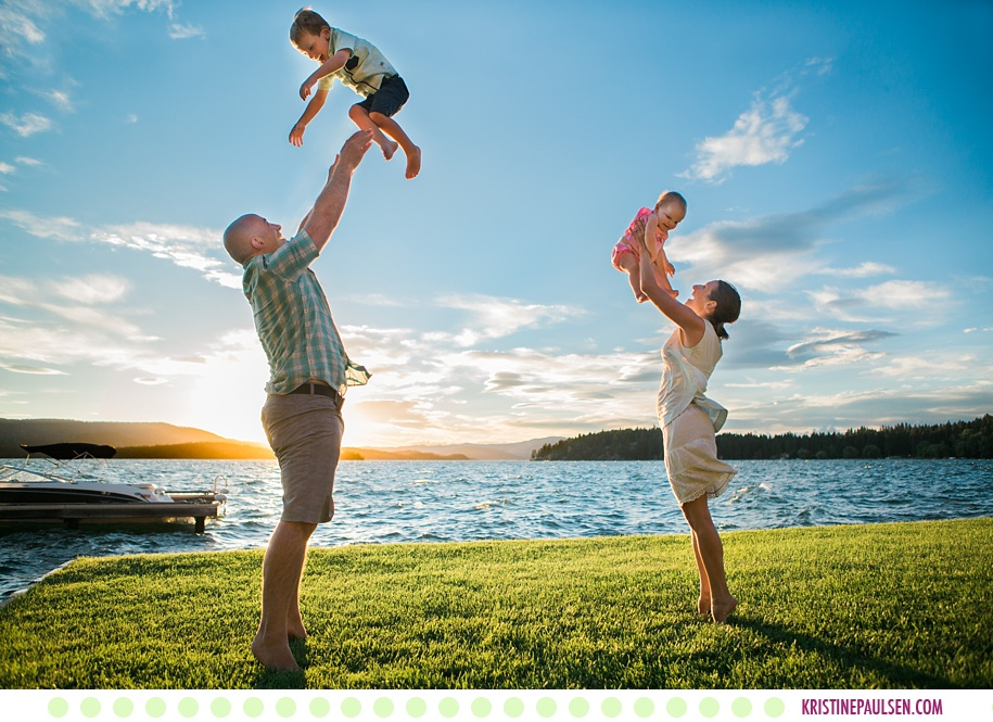 Tim, Courtney, Teddy, Violet, Bill and Lorie :: Flathead Lake Family Portraits in Polson Montana